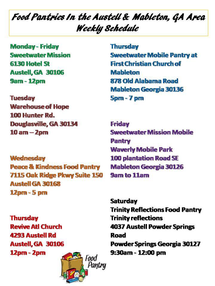 Food Pantry Schedule